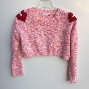 LF Story of Lola Lips Cropped Knit Sweater Pink OS